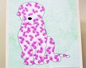 Labradoodle Art Block- Golden Doodle Art Block- Rustic Finish- Watercolor Flower Dogs- Home Decor- Nursery Decor- Dog Wall Art- Milk Paint