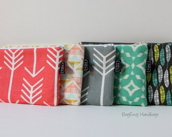 BagEnvy Handbags - Arrows - Feathers - Ikat- Zippered Clutch / Pouch - Make Up Bag -  Choose Your Fabric