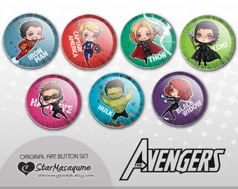 Comic Heroes Buttons Set