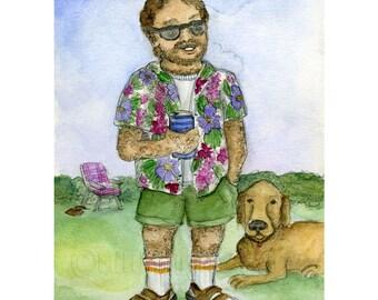 Socks and Sandals Man Mini Print