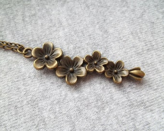 Flower Necklace, Vintage Look, Flower Pendant, Steampunk Flower, Hippy Flower Jewelry