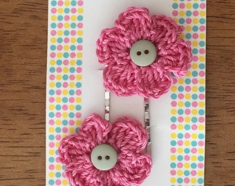 Crocheted Flower Hair Pins/ Crocheted Flower Booby Pins