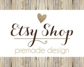 Etsy Shop Banner Avatar Set / Etsy Banner / Premade Etsy Design Package / Wood Country Chic / Gold Glitter / Rustic Banner / Logo