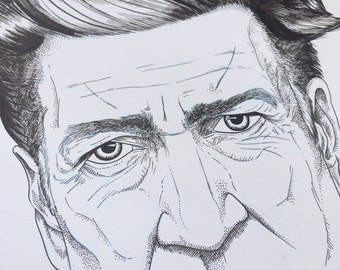 Original Ink Illustration - David Lynch Portrait