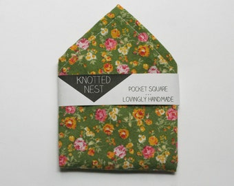 Mens's Pocket Square, Green vintage floral