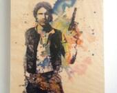 Wood Panel Star Wars Art Han Solo Print on Wood 8x10 in Star Wars Art Print On Wood Panel Han Solo