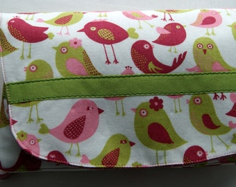 Large Wrist Purse,  Bridesmaids Gift,  Stroller Tote, Birds, Pink and Green,  Small Items Organizer,  Gift for Her