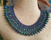 African Turquaze beadwork necklace , statement necklace , blue and green necklace , mother gift idea