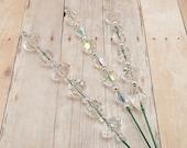 Beaded Plant Sticks - Stakes - Picks - Set of 3 - Crystal Clear - Aurora Borealis - Silver - Home Decor
