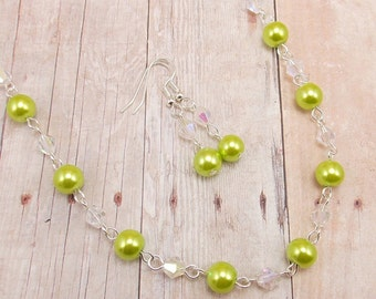 Necklace & Earring Set - Bright Lime Green Glass Pearl with Bright Silver and Aurora Borealis