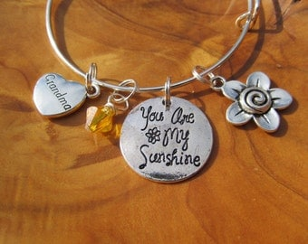 CHRISTAMAS - GRANDMA- You are My SUNSHINE - Adjustable Bangle Bracelet - Choose any birthstone for Grandma - Great Mothers Day gift