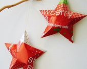 Strawberry Stars Ornaments  Soda Can Upcycled, red white