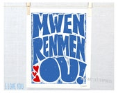 I Love You, Mwen Renmen Ou, Haitian Creole, Wall Art, Adoption Gift, Nursery Print, Baby shower Gift, Haiti Adoption, Kids Room Art, Haiti