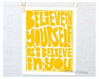 Believe in Yourself as I Believe in You, Wall Art, Graduation Gift Idea, Teen Girl Room Art, Encouragement Gift, Believe Art, Believe Sign
