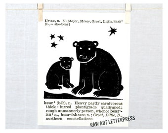 Bear Art, Rustic Bears, Cabin Decor, Dictionary, Ursa Major, Ursa Minor, Woodland animals, Nursery art, Bear drawing, Cute Bears, Bear art