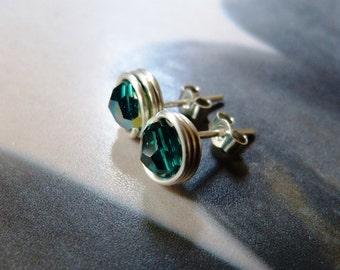 Emerald green Swarovski stud earrings, wrapped post earrings, Sterling silver handmade tiny earring studs
