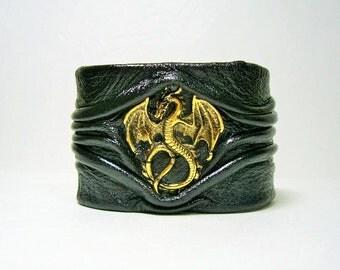 Dragon genuine leather bracelet cuff.   Halloween black genuine leather bracelet cuff. Dragon Demon bracelet.