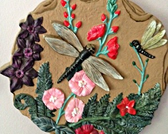 Ceramic Wall Hanging with Dragon Flies