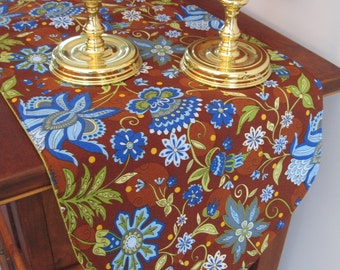 """Brown Paisley Table Runner 36""""  Reversible Brown and Blue Table Runner  Bright Blue and Lime Green Table Runner Brown Runner Royal Blue"""