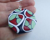 Pendant in Polymer Clay, Hexagonal Pendant, Gift for Her, Contempo Pendant, Red, Blue, White and Green Pendant,