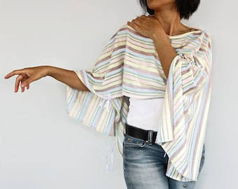 Pastel Tunic Poncho, Striped Shrug Top Wear, Capelet, Pink Yellow Blue Green. Handmade