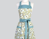 Full Bib Womens Apron - Classic Vintage Apron in ModernFloral of Teal and Taupe Full Kitchen Apron Personalize or Monogram