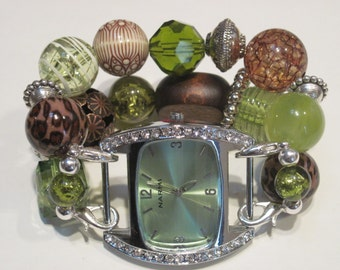 Chunky brown and lime green acrylic beaded interchangeable watch band. Includes lime green watch face with rhinestones