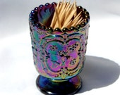 Carnival Glass Iridescent Toothpick Holder Amethyst Purple Fenton Embossed Strawberry Pattern Glass