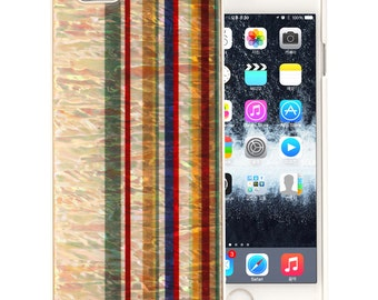 Mother of Pearl Luxury iPhone 6S / 6 Vertical Rainbow Stripe Hard Colorful Blue Red Yellow Shell Protective Skin Cover Case (White)