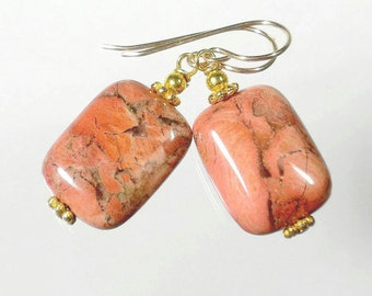 Jasper Earrings, Jasper Stone Earring, Natural Stone Earrings