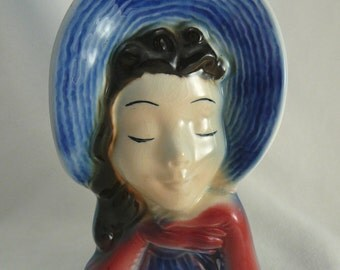 Royal Copley Head Vase Wall Pocket Girl in Hat Vintage Headvase
