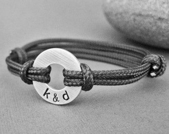 Small Aluminum Disk with Stamped initials and adjustable Paraline cord, Man Gift, Boyfriend Gift, Girlfriend Gift, Gift for Him,Gift for Her