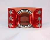 Silver Star Studded Ring Clasp Cuff  on Red Metallic Leather support your favorite team by Rockin its Colors