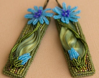 """Bead embroidered earrings with Shibori silk ribbon """"Chicory"""""""