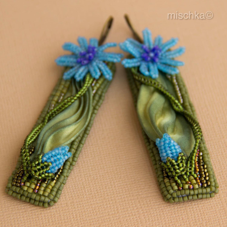 Bead embroidered earrings with shibori silk ribbon