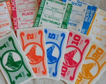 horseracing play money and gambling tickets, vintage horse game pieces, collage altered art