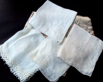 Vintage Hankies, Cotton Embroidered, 1920s, Ladies Accessories, Supplies, Embellished, Vanity, White ecru, Lot of four, Collectibles