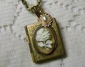 White Rose Book Locket - antique gold - Rose Locket - GARDENERS JOURNAL - Flower Necklace - Rose and Pearls