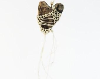 mY hEaRt BeLoNgS 2 U , Black Tan Cream Heart Lace Jewelry, Fishnet, Ceramic Woven Necklace, Sweet Wedding Bridal ht13