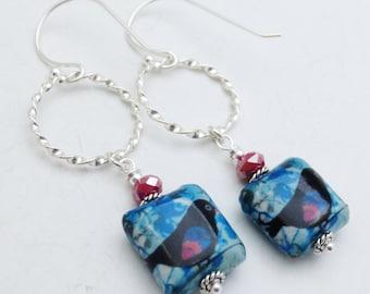 Little Black Birds Decoupage Sterling Silver Beaded Earrings EE Designs
