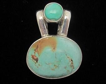 Vintage Turquoise Pendant, Turquoise Gemstone, Sterling Silver, Vintage Sterling Silver Necklace, December Birthstone
