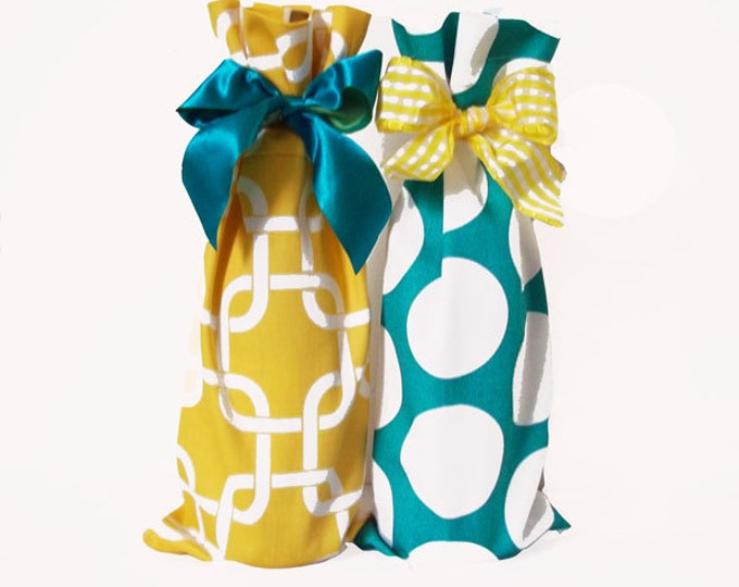Wine Bags, 2 Wine Sacks, Wine Caddy, Wedding, Bachelorette Party, Hostess Gift, Lime Aqua Chevron, Hot Pink Dots, Design Your Own