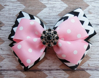 """5.5"""" Black and Pink Layered Bow, Black Chevron Bow, Pink Polka Dot Bow, Back to School, Pink Bow, Black Bow"""