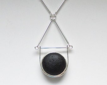 Sea Glass Jewelry - Sterling Large Rare Black English Sea Glass Necklace with Handmade Chain