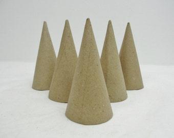 """Paper mache cone, 4"""" cone, 4""""x2"""" cone, contemporary Christmas tree, set of 6"""