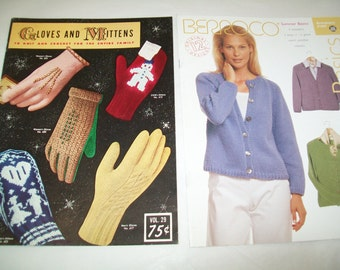 SALE - 2 Crochet Books, Gloves, Mittens, Sweater patterns