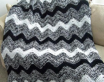 Pattern Only Black and White Ripple Crochet afghan blanket INSTANT DOWNLOAD PDF