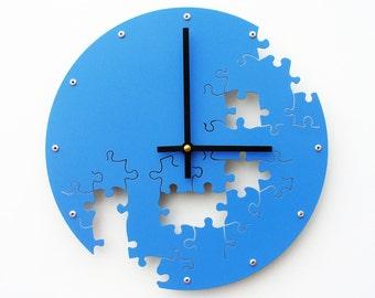 Puzzle V, Medium Wall Clock, Painted Wildflower Blue, unique wall clock, modern wall clock, steampunk wall clock, industrial clock