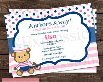 Sailor Monkey Baby Shower Invitation