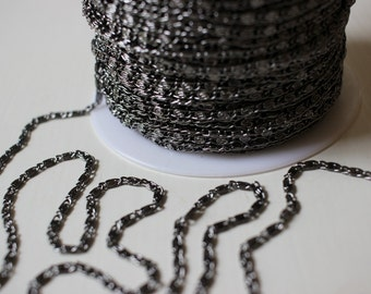 Shiny Gunmetal Filigree Chain 3 Feet